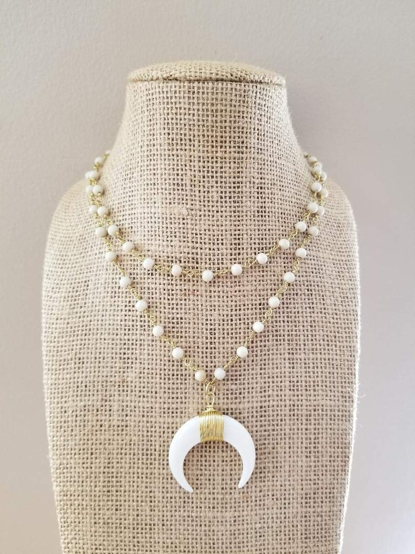 White Double Horn Pendant Choker Necklace Fossil Stone Beads Double Strand