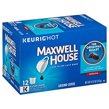 Superb Maxwell House Original Blend Coffee, Medium Roast, K Cup Pods, 12 Count