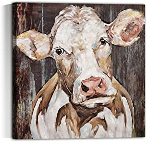 Modern Country Farmhouse Rustic Bedroom Decor for the Home Wall Art for Dining Room Decor for the Home Dairy Cattle Decor Canvas Print Placed in Home Bathroom Office Study Cow wall art …