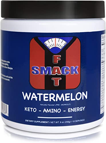 Smackfat Keto Amino Energy – Keto Pre Workout Powder – BHB Exogenous Ketones BCAAS Amino Acids Amino9 TeaCrine – Keto Powder for Weight Loss Watermelon