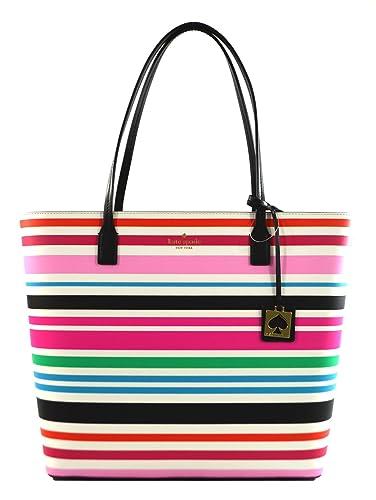 fa1a0db10eb Amazon.com  Kate Spade Karla Beech Street Smooth Leather Tote Shoulder Bag  Purse Handbag (Multi Stripes)  Shoes