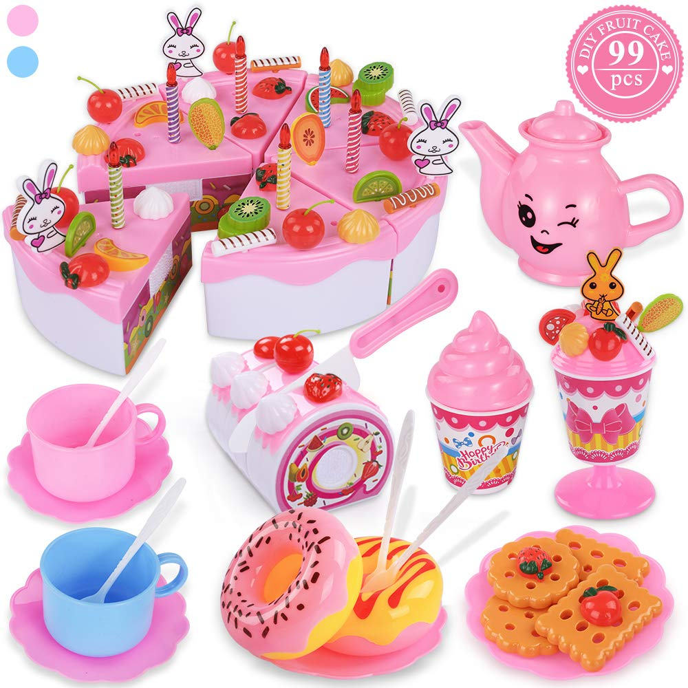 TEMI Pretend Birthday Cake for Kids, DIY 99 PCS Decorating Party Play Food Toys Set w/ Candles Fruit Dessert, Educational Kitchen Toy for Children, Toddlers, Boys & Girls, Aged 3 4 5 Year Old, Pink