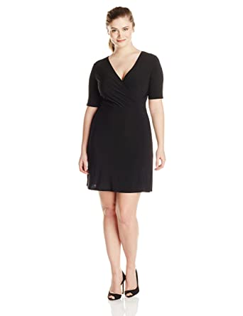 337605d8a53 Star Vixen Women's Plus-Size Faux-Wrap Dress at Amazon Women's ...