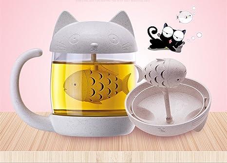 Taza de té con infusor de gato, taza de cristal con infusor, colador de