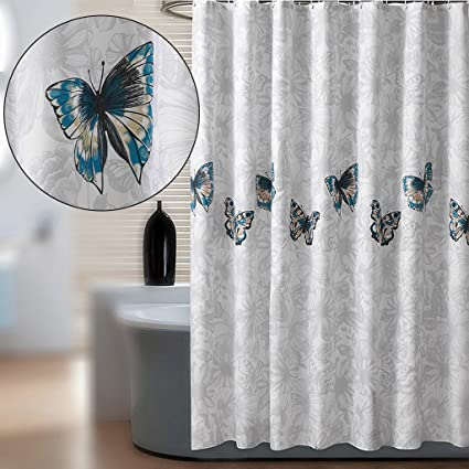 ZHEN GUO Grey Background And Blue Butterflies Shower Curtains Thickened Waterproof Mildewproof Polyester