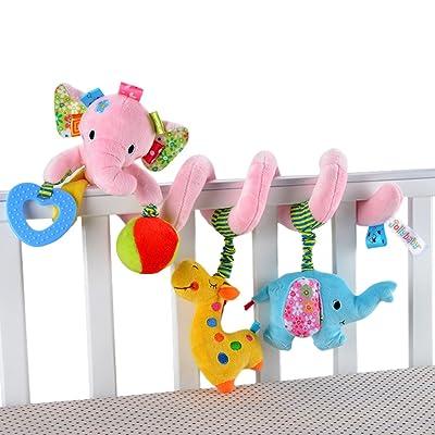 Happy Cherry Juguete Peluche Espiral de Actividades Sonajero con Sonidos Colgante Animales Elefante para Bebés Recién Nacidos Niños Carrito Cochecito Cuna: Juguetes y juegos