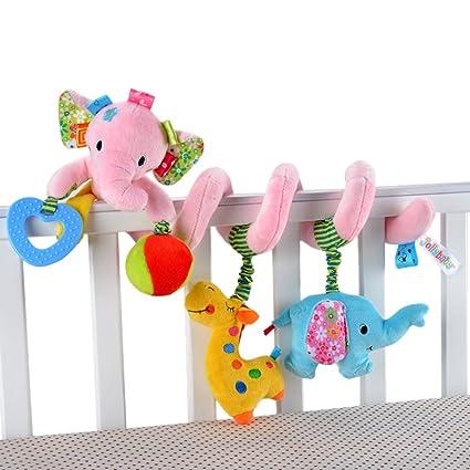 Happy Cherry Juguete Peluche Espiral de Actividades Sonajero con Sonidos Colgante Animales Elefante para Bebés Recién Nacidos Niños Carrito Cochecito ...
