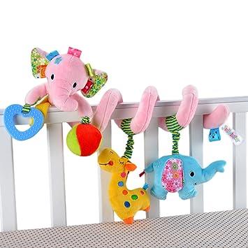Happy Cherry Espiral de Actividades Sonajero Musical con Sonidos Música Colgante Multicolor Elefante para Bebés Recién