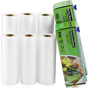 "Vacuum Sealer Rolls With Cutter Box 6 Pack 6"" x16.5' and 8"" x16.5' Commercial Grade Bag Food Saver Rolls for Sous Vide Cooking - KitchenBoss"