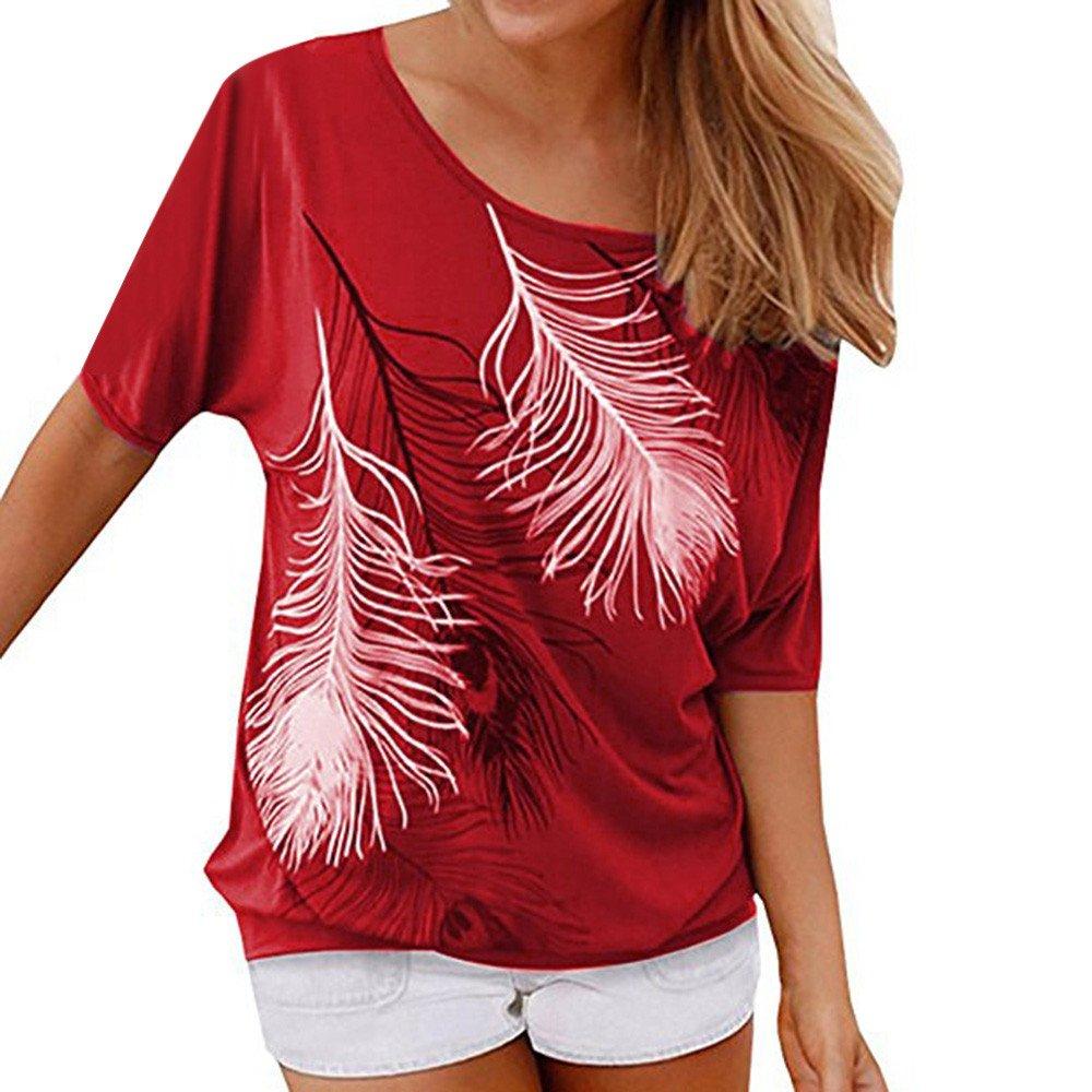 Oberteile Damen Piebo Sommer Frauen Bluse Short Sleeve Feder Druck Muster Jumper Pullover Basic O-Ausschnitt Kurzarm T-Shirt Falten Tops