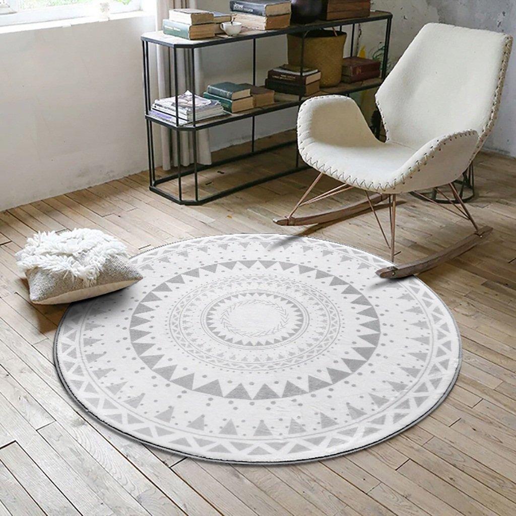 Teppichen Creative Light- Ländliches Wohnzimmer Bereich Runde Geometrisches Muster Schlafzimmer Bereich Weiche Rutschfeste Teetisch Computer Stuhl Matten (Farbe : #4, größe : 120cm)