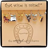 Wine Things Equestrian, Painted Wine Charms, Fits neatly around stem, Multicolor