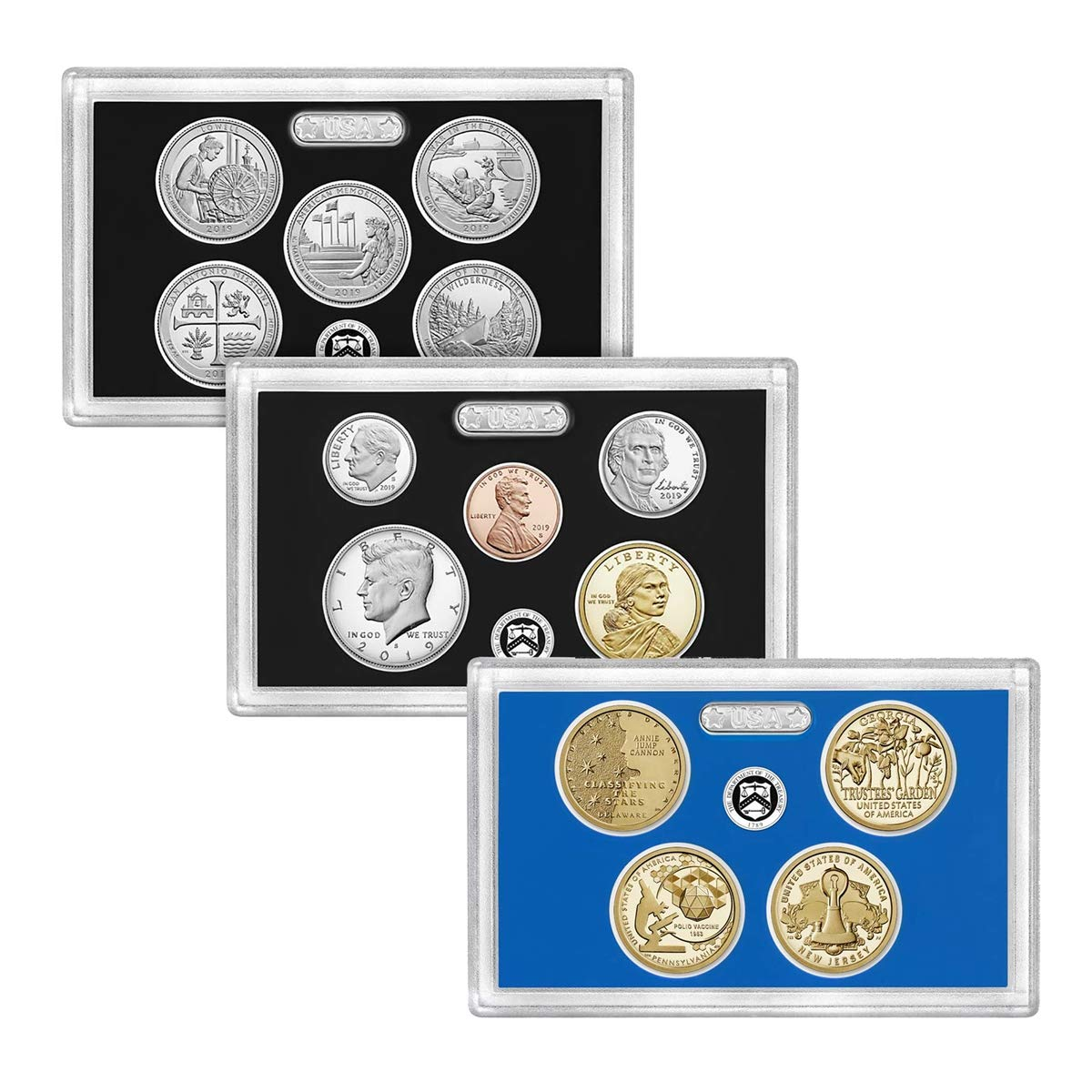 2019 S U.S. Mint 14 Coin Silver Proof Set with OGP boxes and COA Proof