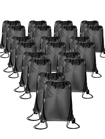 b7b3e8b57e8d28 Amazon.com | 20 Pieces Drawstring Backpack Sport Bags Cinch Tote Bags for  Traveling and Storage (Dark Grey, Size 1) | Drawstring Bags