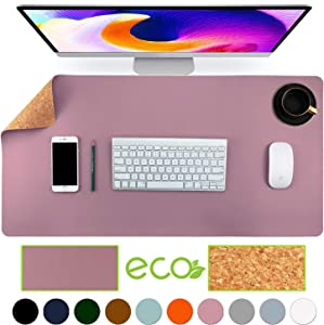 "Aothia Eco-Friendly Natural Cork & Leather Double-Sided Office Desk Mat Mouse Pad Smooth Surface Soft Easy Clean Waterproof PU Leather Desk Protector for Office/Home Gaming (Purple,31.5"" x 15.7"")"