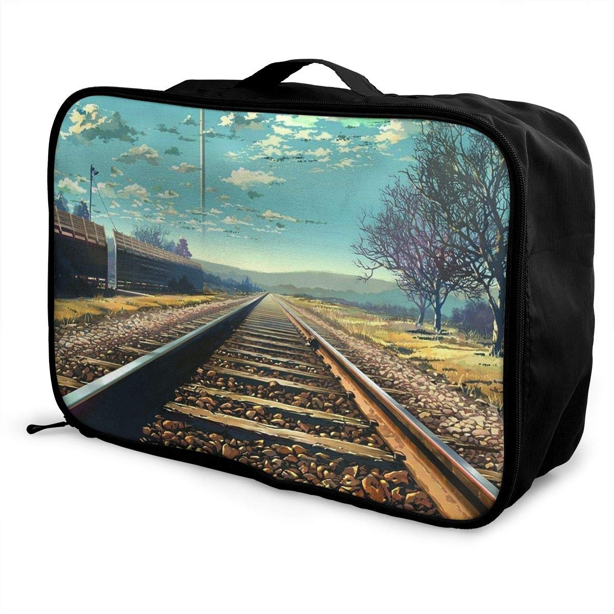 Travel Luggage Duffle Bag Lightweight Portable Handbag Train Track Pattern Large Capacity Waterproof Foldable Storage Tote