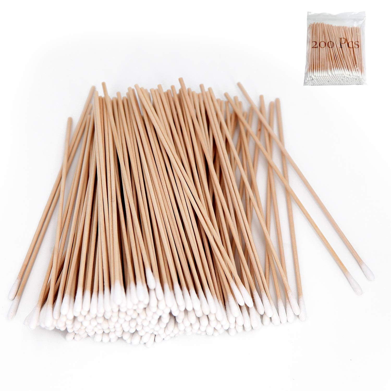 200 PCS Long Wooden Cotton Swabs, Cleaning Cotton Sticks With Wood Handle for Oil Makeup Gun Applicators, Eye Ears Eyeshadow Brush and Remover Tool, Cutips Buds for Baby And Home Accessories