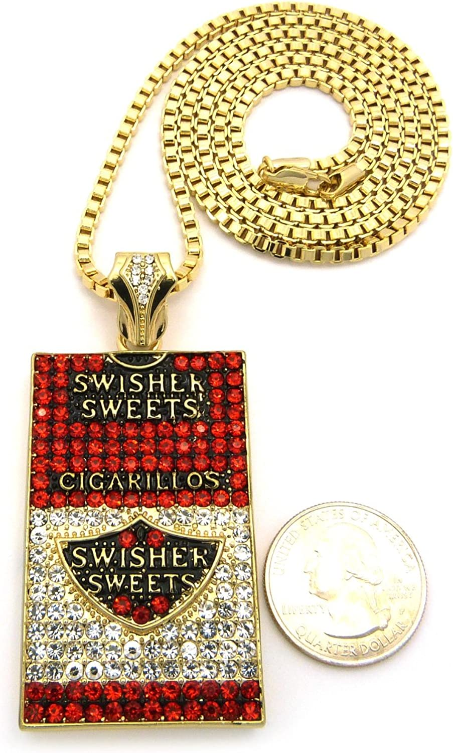 Mens Iced Out Hip Hop Gold Swisher Sweets Cigarillos Pendant Box Chain Necklace