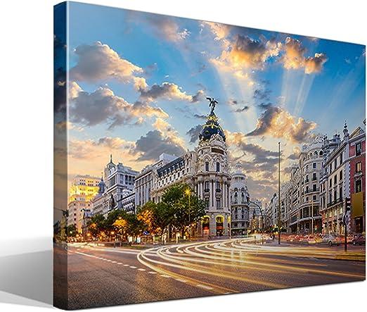 cuadro canvas Calle de Alcalá de Madrid - 95cm x 70cm - Fabricado en España: Amazon.es: Hogar