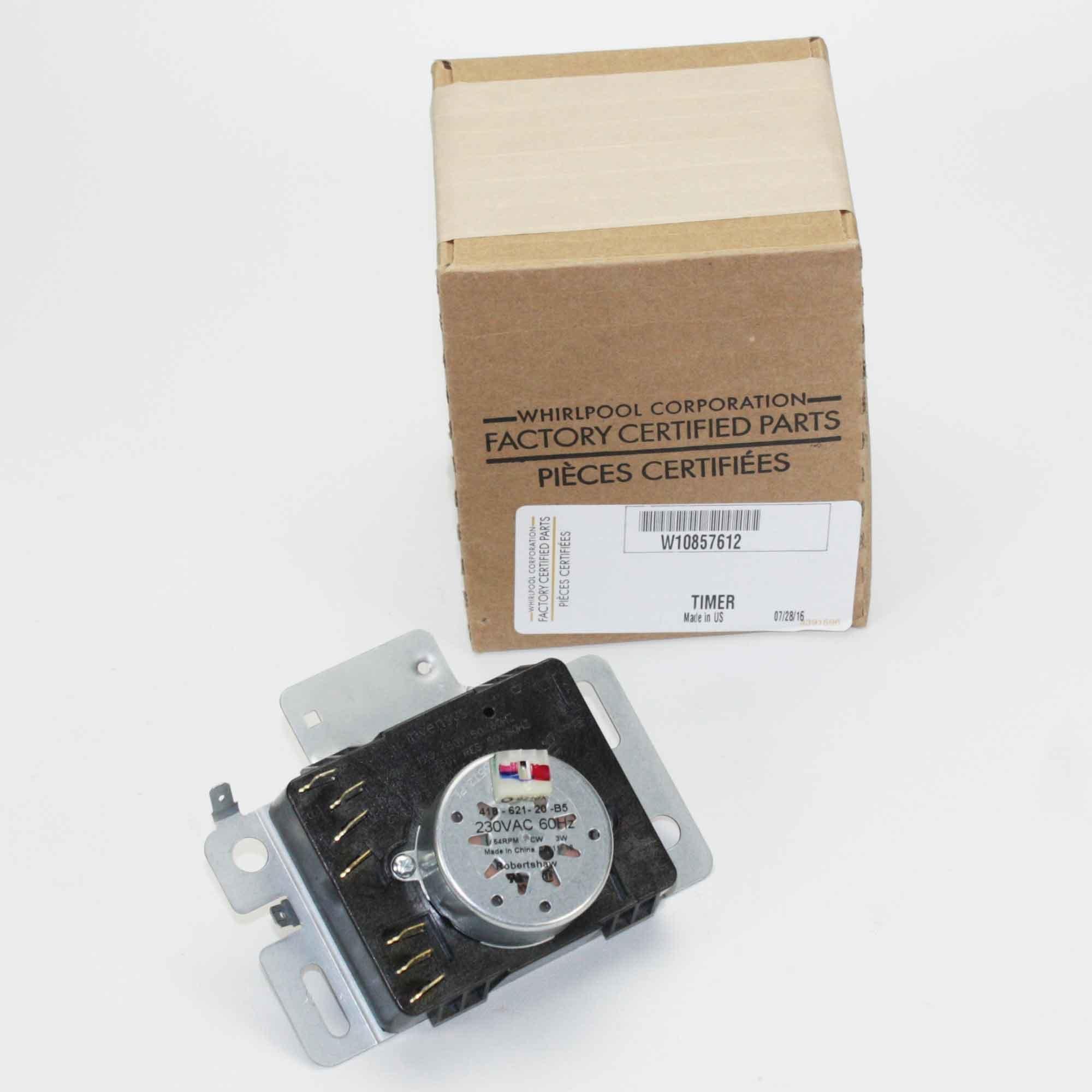 Whirlpool W10857612 Dryer Timer, Small, Black