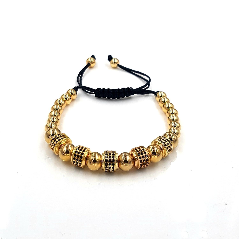 3255aeee4b6f Acero inoxidable pulsera de perlas oro con zirconia negra de diamantes 16 –  24 cm ajustable