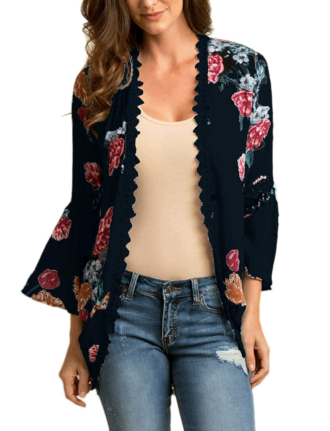 Deep bluee Chunoy Women Casual Floral Bell Sleeve Hollow Out Open Front Kimono Blouse Top