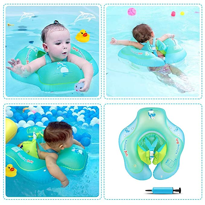 HONGCI Baby Swimming Float Adjustable Inflatable Baby Pool Float Baby Swimming Ring includes an air pump 2-6 Years Newborn Baby Learn to Swim Inflatable Trainer
