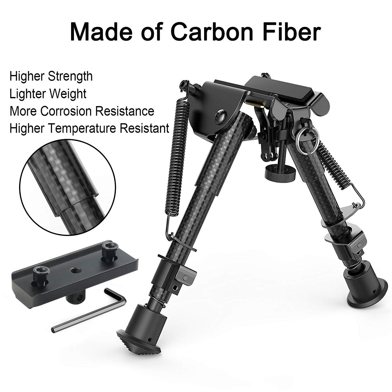 XAegis Carbon Fiber 6''- 9'' Rifle Bipod with Keymod Adapter for Hunting & Shooting Carbon Bipod by XAegis
