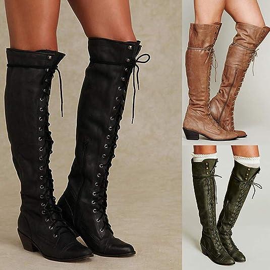 Minetom Botines Mujer Otoño Invierno Planos Largo Botas Moda PU Cuero Rodilla Alta Tacón Ancho Zapatos Cremallera Encaje hasta Boots: Amazon.es: Zapatos y ...