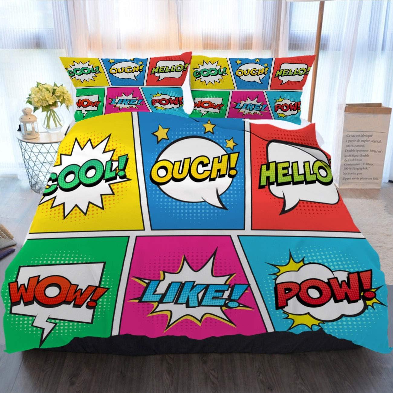 OTTOSUN Retro Bedding 3 Piece Duvet Cover Sets,Retro Comic Speech Bubbles Set On Colorful Background Expression,Home Luxury Soft Duvet Comforter Cover,King