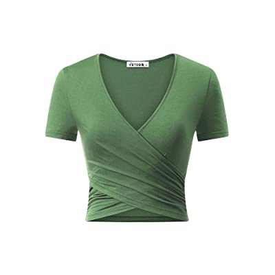 VETIOR Women's Deep V Neck Short Sleeve Unique Slim Fit Cross Wrap Shirts Crop Tops at Women's Clothing store