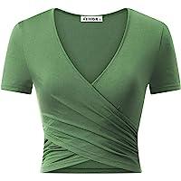 VETIOR Women's Deep V Neck Short Sleeve Unique Slim Fit Cross Wrap Shirts Crop Tops