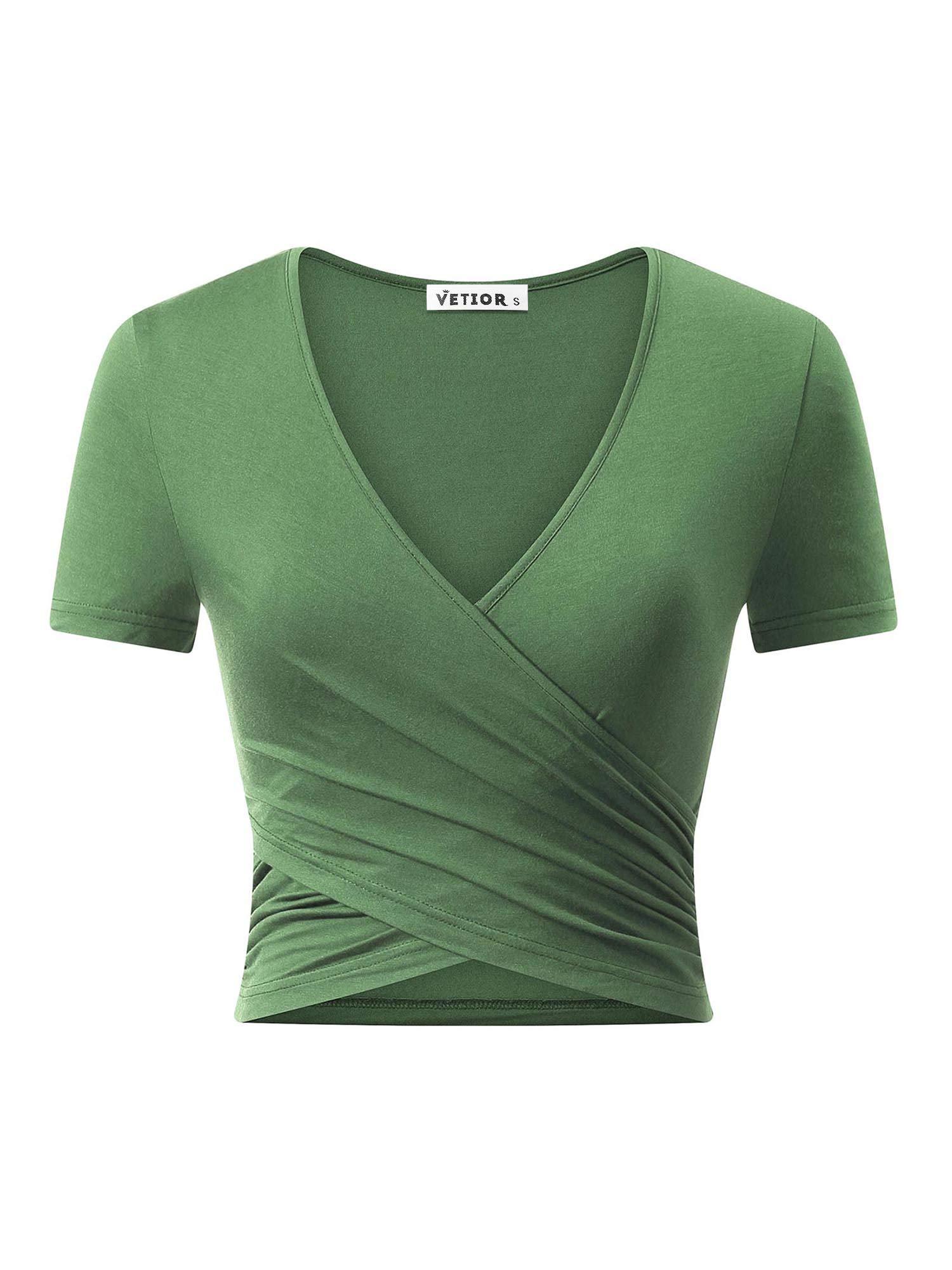 VETIOR Women's Deep V Neck Short Sleeve Unique Slim Fit Coss Wrap Shirts Crop Tops