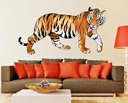 Luke and Lilly Tiger Design Vinyl Wall Sticker (80 * 45cm)