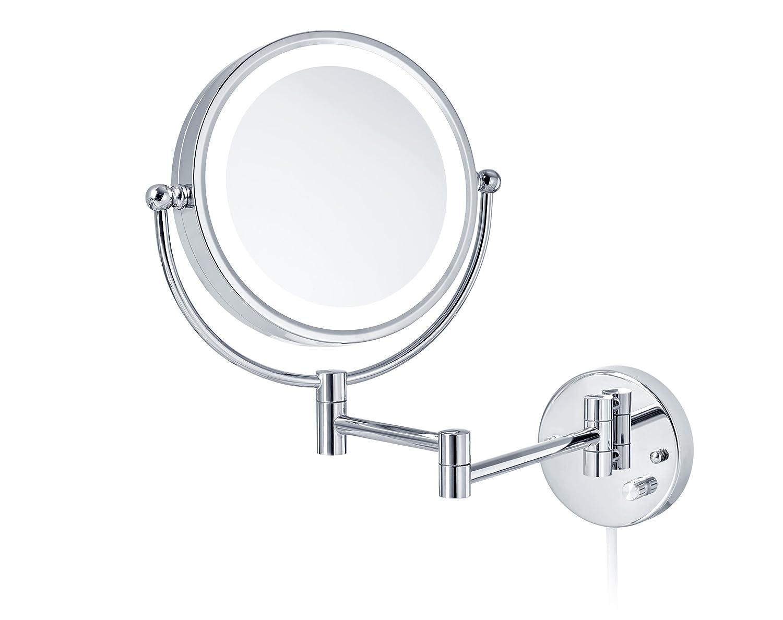 Nicol 4026100 KATJA Kosmetikspiegel, LED mit Dimmerfunktion, Wandspiegel 3 7-Fach Vergrößerung, ausklappbar, Chrom, 48.0 x 5.0 x 38.0 cm