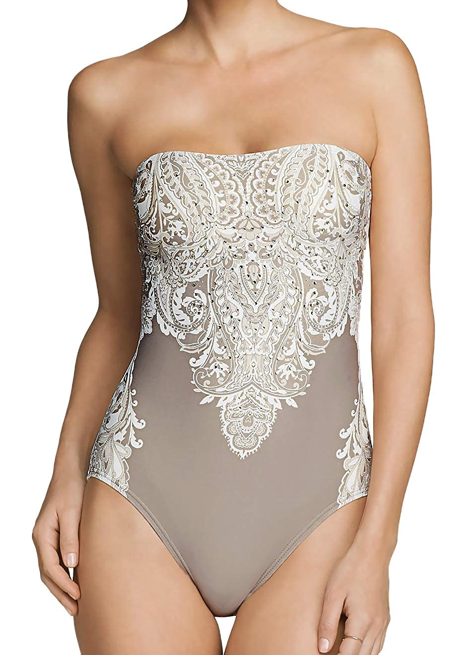 Carmen Marc Valvo One Piece Swimsuit Beaded Coast Garden Bandeau Maillot Taupe 10