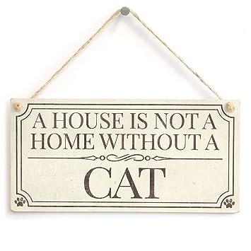 Una casa no es un hogar sin un gato - estilo Shabby Chic accesorio ...