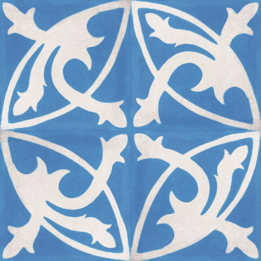 Handarbeit Jugendstil Fliesen K/üchendekor 4 Zementfliesen Mondial hellblau