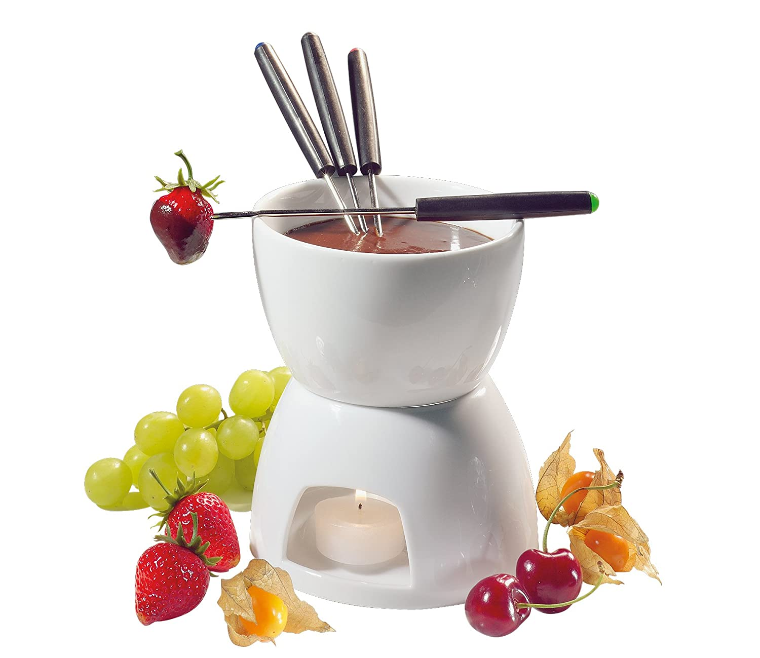 Amazon.com: Cilio Porcelain Chocolate Fondue Set, White: Fondue ...