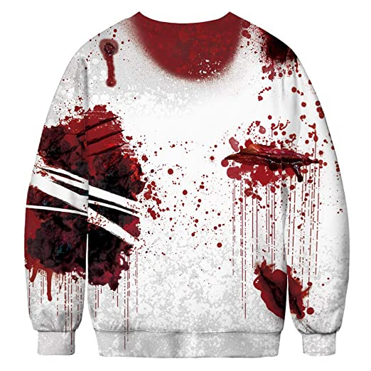 BETTERUU Women Casual Skeleton 3D Print Long Sleeve Bloodstain Sweatshirt Pullover Top at Amazon Womens Clothing store: