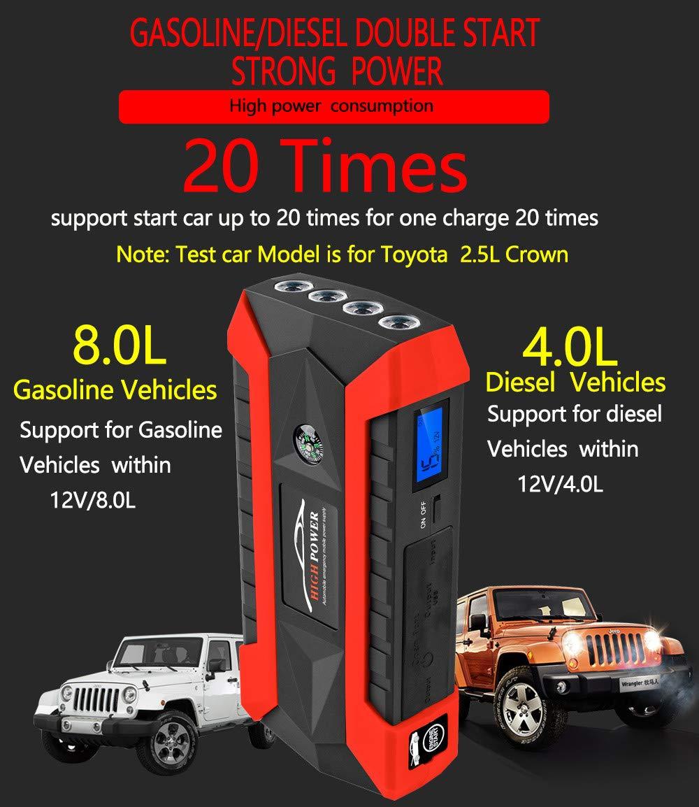 Sonmer Portable 89800mAh 12V LCD 4 USB Car Jump Starter,Super Bright LED Flashlight, Battery Power Bank For Notebook Mobile Phones Tablet by Sonmer (Image #2)