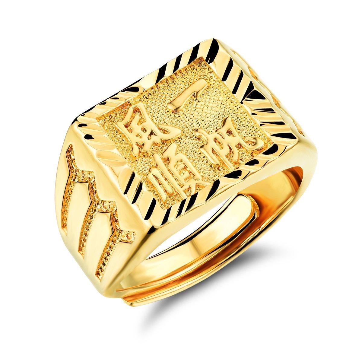 OPK gioielli placcati oro 18 K-Anello uomo Engrave carattere cinese significato Buona Fortuna With You , misura regolabile J-KJ034