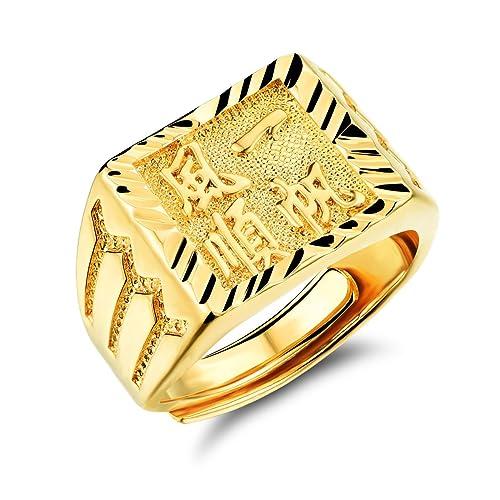 Suerte Amor joyas incrustaciones de caracteres chinos bañados en oro 18 K anillo de boda Band