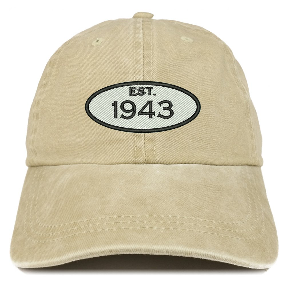 Trendy Apparel Shop Established 1943 Embroidered 75th Birthday Gift Pigment Dyed Washed Cotton Cap - Khaki