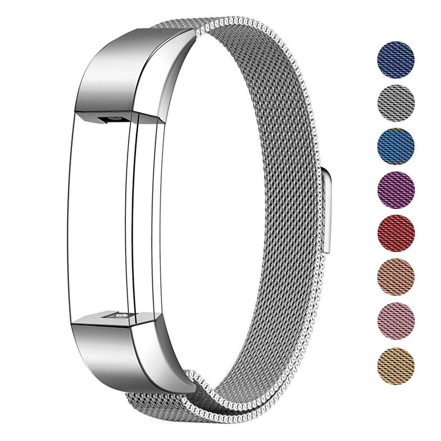 "Fitbit Alta HR and Alta Bands Metal Small & Large (5.5"" - 9.9""), Swees Milanese Stainless Steel Replacement Band for Fitbit Alta HR and Alta Women Men, Silver, Black, Rose Gold, Colorful, Champagne"