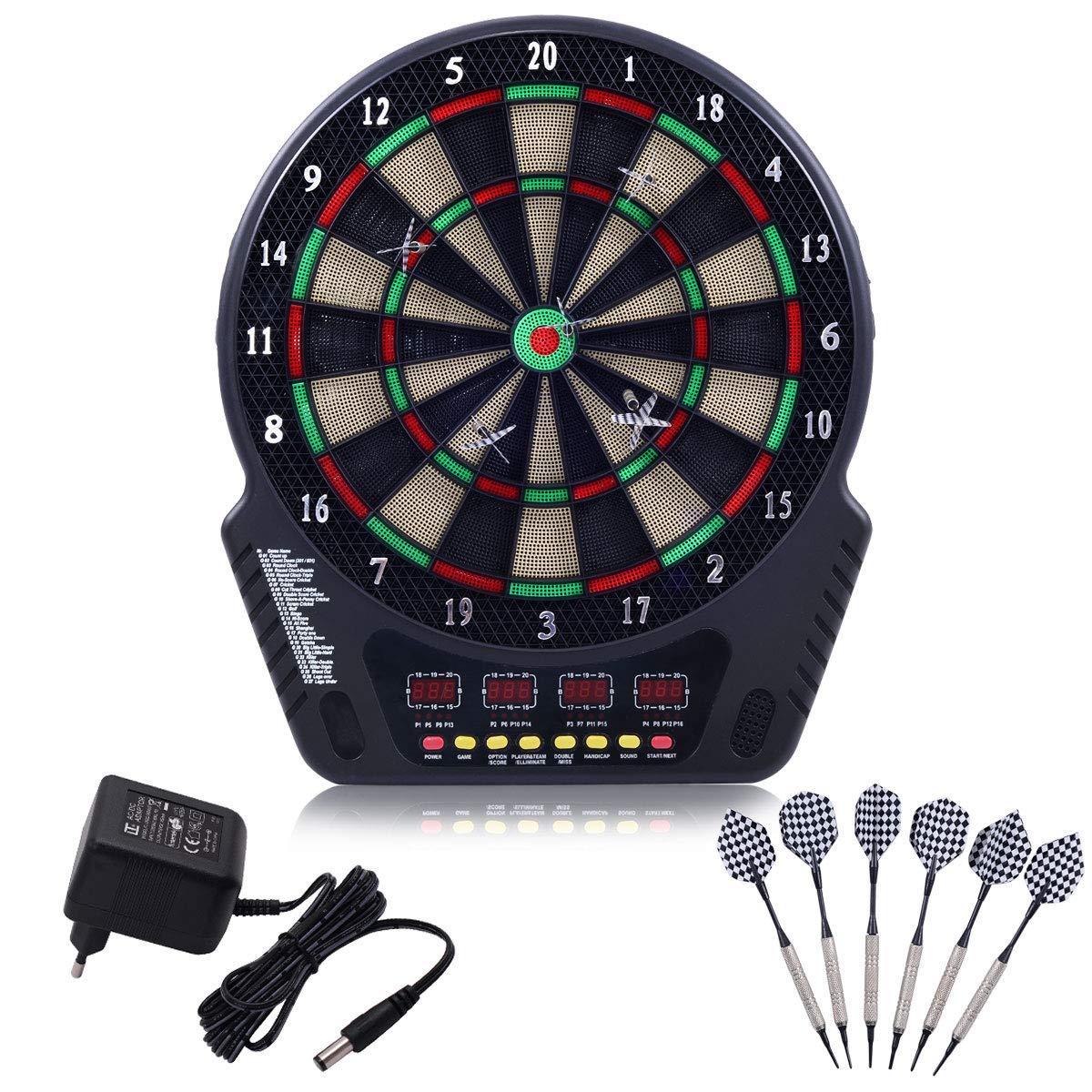 COSTWAY Elektronische Dartscheibe Dartboard Dartautomat LCD Dartspiel Dartpfeil + 6 Pfeile