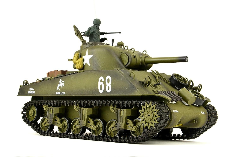 ES-TOYS RC Panzer US M4A3 Sherman Heng Long 1:16 mit Rauch&Sound+2,4Ghz - Pro Edition - Metallgetriebe, Metallketten und Metallräder