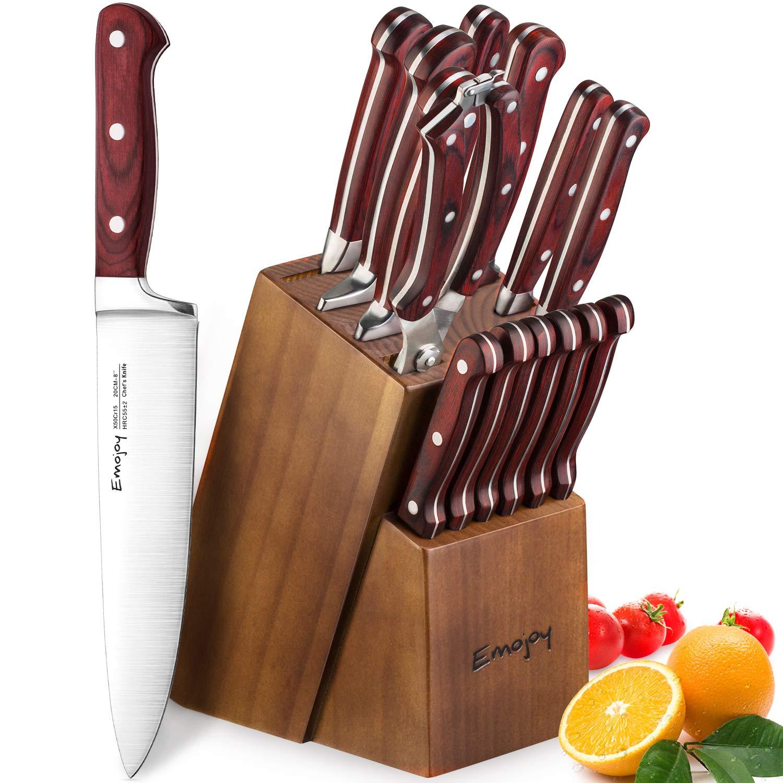 Emojoy Cuchillos Cocina, Juegos de Cuchillos de Acero Inoxidable, Incluye 15 Cuchillos de Cocina (Plata) product image
