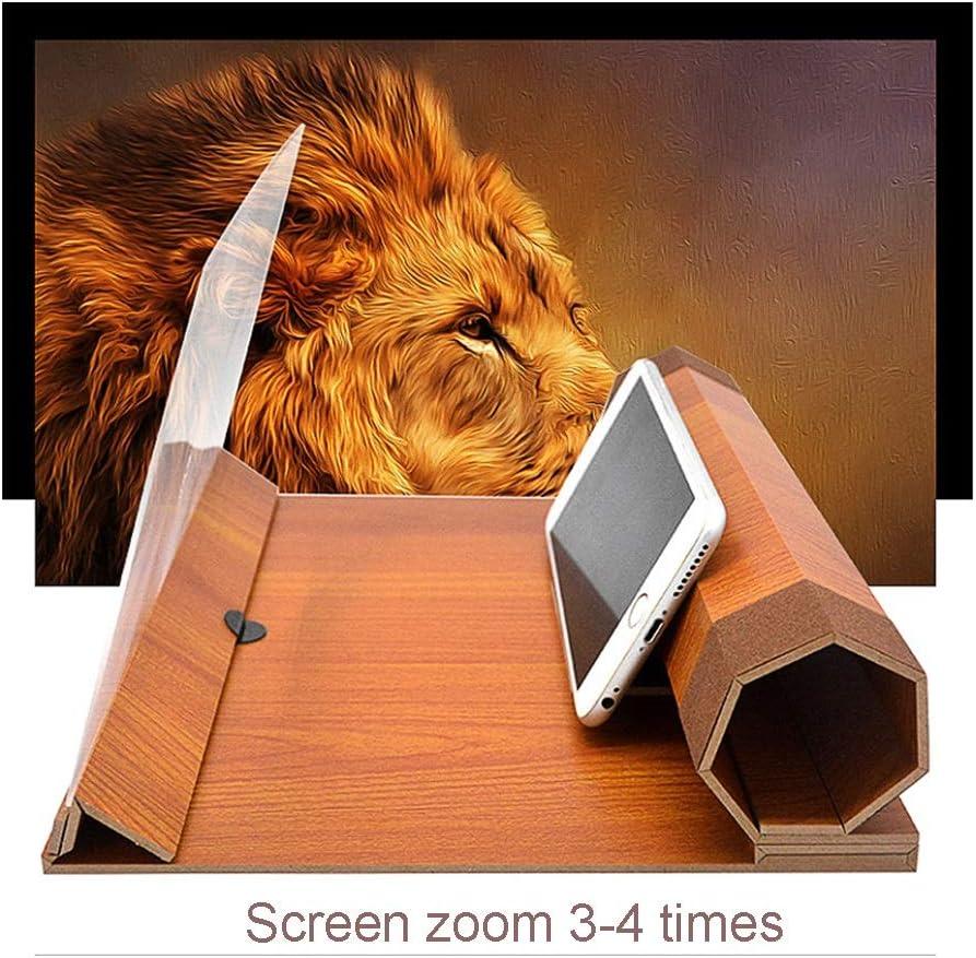 Color : Dark red Wood Grain Chusangsst 15-inch Screen HD Anti-Fog Radiation Mobile Phone Video Amplifier 7 Folding Magnetic Phone Holder