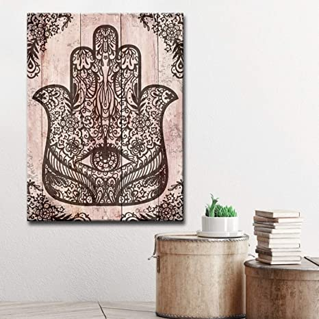Amazon Com Misc 20 X 16 Black Hamsa Hand Canvas Art Wood Grain
